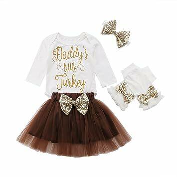 5de491410 Infant Baby Girls Thanksgiving Outfit Newborn Romper Tops + Tutu Skirt +  Leg Warmers Headband 4PCS Set