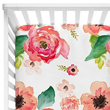 e4522beb62d Sahaler Baby Floral Fitted Crib Sheet for Boy and Girl Toddler Bed  Mattresses fits Standard Crib Mattress 28x52 (Coral Watercolor)