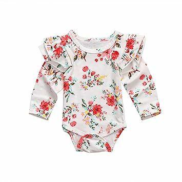 2f542ba252e4 Kingte Newborn Baby Girls Long Sleeve Ruffle Bodysuit Floral (0-3M)