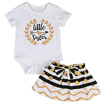 053e23085aab Little Big Sister Toddler Baby Girl Matching Clothes Romper T-Shirt Polka  dot Skirt Dress Outfits Set (0-6 Months