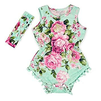 684fff3142b7 Floral Flower Rompers for Baby Girls with Headband 0-2T Baby Girl Clothes  Bodysuit Romper Jumpsuit One-Pieces Outfits Set (0-6 Months