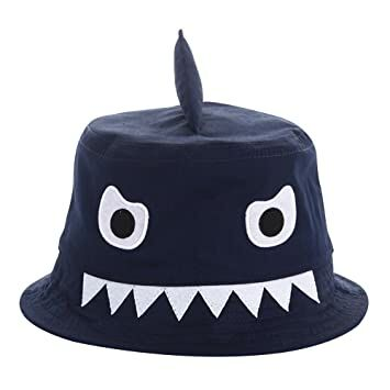 6b0a8b4f259 E.mirreh Newborn Baby Infant Toddler Sun Protection Bucket Shark Hat Boy  Blue for 48cm Head Circumference