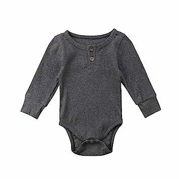 3661ab474 Emmababy Newbown Baby Boys Girls Knitted Sweather Rompers Sleepwear Long  Sleeves Pajamas Fall Winter Bodysuit Grey