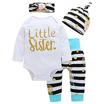 bde8d912c OUTGLE Newborn Baby Girl Toddler White Romper + Stripe Trousers + Hat +  Headband Autumn Winter Outfits (0-3 Months, Multicolor)