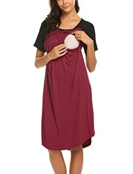 acc4c028520 Ekouaer Pregnancy Dress Maternity Nursing Nightgown Breastfeeding Nightwear  Pregnant Cloth Dark Red