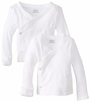ec0f821e5 Gerber Unisex-Baby Newborn 2 Pack Long Sleeve Side Snap Mitten Cuffs Shirt,  White, 0-3 Months