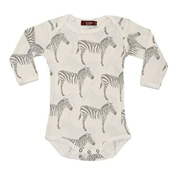 aaf2a883d30 MilkBarn Organic Cotton Long Sleeve One Piece - Grey Zebra (6-12 Months)