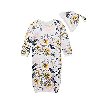 e7e1254362f27 Newborn Infant Baby Floral Tie Nightgowns Hat Outfits, Coming Home  Sleepwear Sleeper Gown Swaddle Outfits White