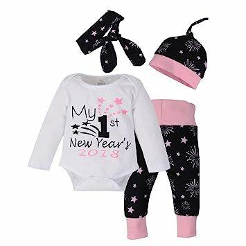 af3919bdf Winsummer Newborn Baby Girl Boy Christmas Year 4pcs Outfits Clothes  Romper+Pants+Hat+Headband (0-3M, White)