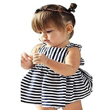 8fd751e1e0e83 Misaky Baby Girls Summer Sunsuit Outfit Backless Dress (9M, Navy)