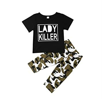 68cf70557 Newborn Infant Baby Boy Girls Camouflage Clothes Hooded T-Shirt Tops+Pants  Outfits (0-6 Months, Camo-4)