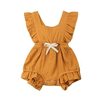 Newborn Infant Baby Girls Color Solid Ruffles Backcross Romper Bodysuit Outfits Rich And Magnificent Girls' Clothing (newborn-5t) Clothing, Shoes & Accessories