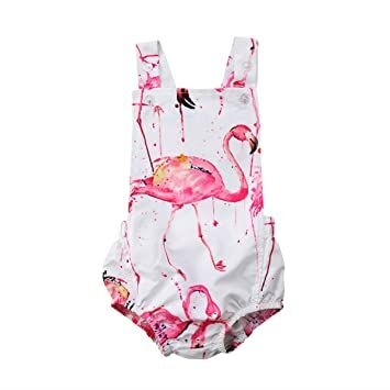 2262f9d79 ABEE Newborn Baby Girls Cotton Flamingo Romper Bodysuit Jumpsuit Outfits  Clothing