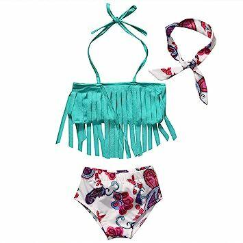 93c8b33ef4979 Baby Girls 3 Pcs Swimwear Tassels Halter Top+Floral Bottom+Headband Swimsuit  (0-1T, Cyan)