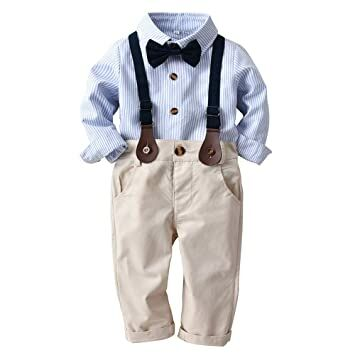 11495f0da34 GoodLock Clearance!! Baby Boys Gentleman Clothes Toddler Striped Bowtie Long  Sleeve Shirt+Overall Pants Outfits 4Pcs (Blue