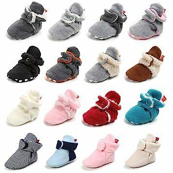 Baby Boys Girls Fleece Booties Non Slip Bottom Winter Socks Shoes Unisex Pram Soft Sole First Birthday Gift