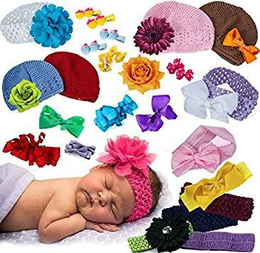 6b943b332 Baby Headbands and Bows - (20 Piece Set) Baby Girl Hats - Baby Shower Gifts  - Baby Hair Accessories by CoverYourHair