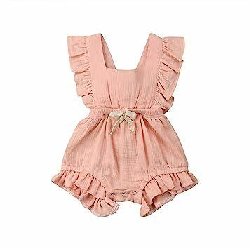 cccbbc36c Newborn Baby Boys Girls Bowtie Short Sleeve Romper Bodysuit Playsuit  Outfits (6-12 months, Light Pink)