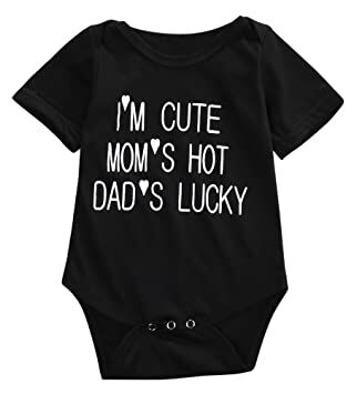 b296cb8c5 I'M CUTE and MOM'HOT Baby Infant Funny Bodysuits Newborn Rompers Outfits  (1-3months)