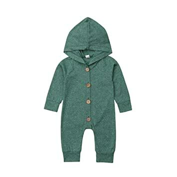 e166a4912 Newborn Kids Baby Boys Cute Solid Color Long Sleeve Hooded Romper Jumpsuit  Top Outfits Clothes Green