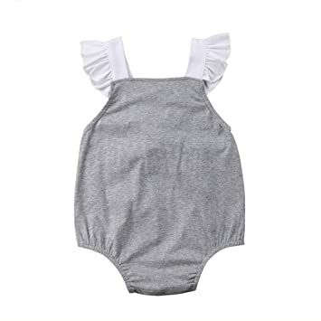 3bea6b4da9d3 Mornbaby Newborn Girl Clothes Baby Girl Ruffles Romper Lace Sleeveless  Outfit Grey Bodysuit Clothes (White+Grey
