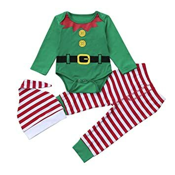 4a4a7718 2017 Christmas Baby Boys Girls Cute Elf Costume Long Sleeve Romper Pants  Hat Outfits Winter Clothes (Green, 6-12M)