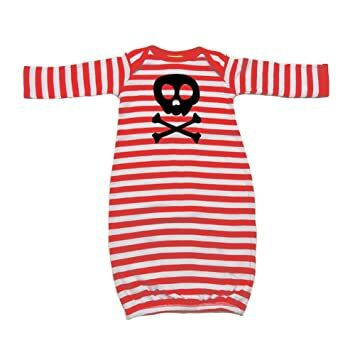Mashed Clothing Unisex-Baby - Skull   Crossbones Cute Pirate - Baby Layette  Gown (Red White Stripe ccd57bf42d4d