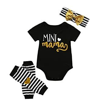 b032516b0de OUBAO 4Pcs Baby Romper Summer Newborn Infant Baby Boy Girl Short Sleeve  Romper+Leg Warmer+Headband Jumpsuit Bodysuit Outfits Clothes Set (Black