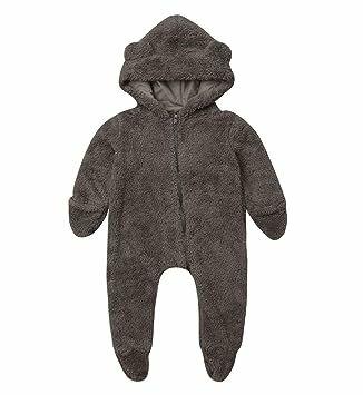 670a3785eeb Newborn Baby Boys Girls Cartoon Bear Ears Warm Fleece Hooded Romper  Jumpsuit Winter Bodysuit Bath Robe Outfits (Brown