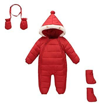 bd6b203ac5e Mud Kingdom 3 Piece Baby Toddler Girl All In One Snowsuit Romper Winter  12-18M Red