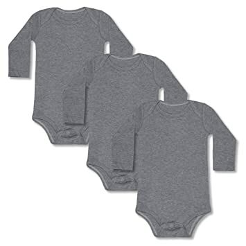 ff746a2af GLEAMING GRAIN 3-Pack Newborn Baby Onesies/Bodysuits Boys Baby Girls Baby  Unisex Onesies Navy Blue Onesies One-Piece Long Sleeve Bodysuits,(Gray,3M)