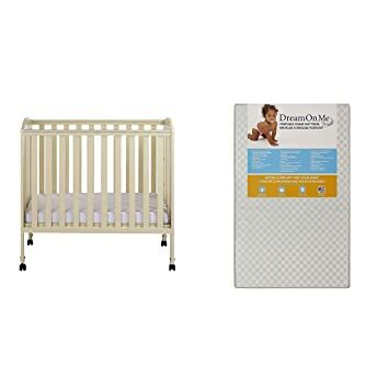 b511ac51811 Dream On Me 3 in 1 Portable Folding Stationary Side Crib with Dream On Me 3  Portable Crib Mattress