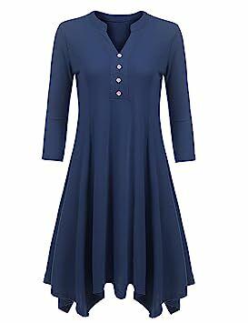 ab8bd7245c0 Beyove Women s 3 4 Sleeve V Neck Plus Size Henley T-shirts Thermal Tunic Top