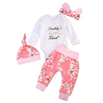 742f328886 Emmababy Newborn Baby Daddy s Little Girl Bodysuit Jumpsuit Floral Pants  Headband Hat Outfits Clothes Set (0-6M