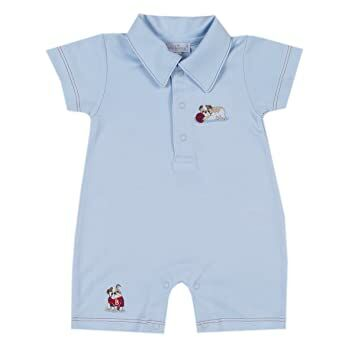 c12ff2a9d72 Kissy Kissy Baby-Boys Infant Burly Bulldogs Short Playsuit With  Collar-Blue-6-9 Months