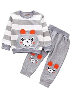 79fa3c9f09c1b Ancia 2017 Baby Boys Kids 2 Pieces Fall Clothing Set T-Shirt Pants Outfits(Bear  Grey,9-12 months)