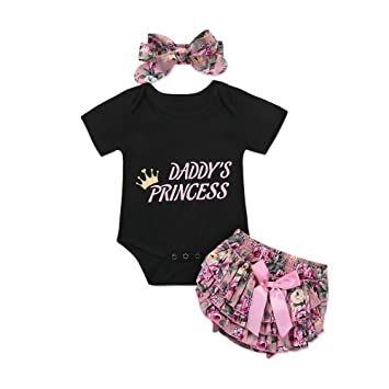 b158bdd97 Catpapa 3PCS Newborn Baby Girl Romper Jumpsuit Bodysuit +Pants  Shorts+Headband Outfit Set,0-6 Month,Black