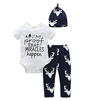 edc973584b4 Tomfeel Baby Boys Proof Miracle Happen Funny Bodysuits Deer Pants Hat 3pcs  Outfits Kids Clothes (3-6M