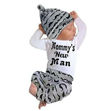 f18c709ce081 FEITONG Newborn Infant Baby Boy s Print Romper Tops+Long Pants +Hat (0-3  Months