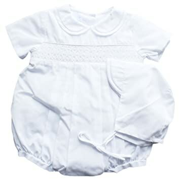 c987aed1c Petit Ami Baby Boys' Bubble with Smocking and Faggoting, Newborn, White