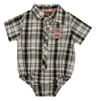 df46d7c3d39 Harley-Davidson Baby Boys  Plaid Short Sleeve Woven Shop Creeper 3060795  (12M)