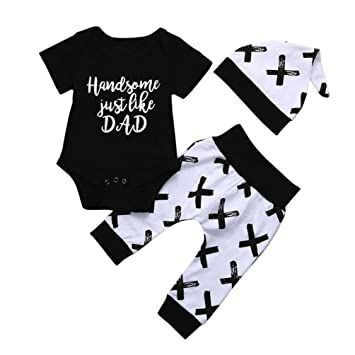 aa6e65c1a2677 Infant Toddler Baby Boy Summer Clothes Outfits Cuekondy Letter Print Romper  Tops T-Shirt +Pants +Hat Set Father's Day Gift (Black, 6M)