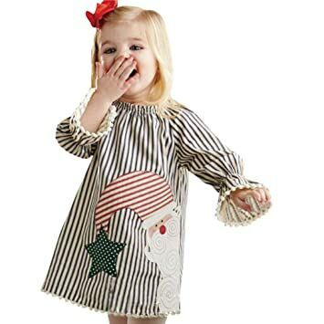 1a19983765b3 Vovotrade Christmas Dress Clothes Toddler Kids Baby Girls Santa Outfits  Striped Princess Dress (3T