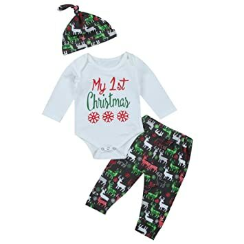 3pcs cute baby girl boy long sleeve 1st christmas bodysuit and deer pants outfit with hat xmas clothes 0 3 months white