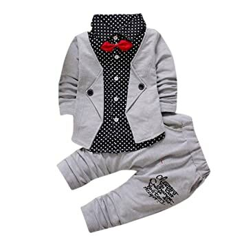 38446e89b04aa Clothes Set,BeautyVan Kid Baby Boy Gentry Clothes Set Formal Party  Christening Wedding Tuxedo Bow Suit (12M, Gray)