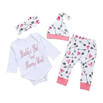 4fc520d11b YANG-YI Clearance Newborn Infant Baby Girl Clothes Letter Romper  Top+Pants+Hat Clothes Set (70cm 3M