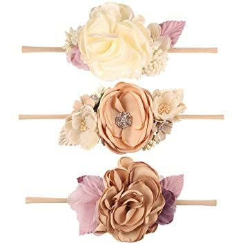 cb876deed7e CN Baby Girls Floral Headbands Nylon Flowers Crown Hair Bow Elastic Bands  For Newborn Infant Toddlers Kids Pack of 3