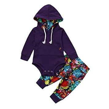 b4a732862a13 2Pcs Newborn Baby Boys Girls Floral Print Long Sleeve Hoodie Romper+Pants Outfits  Clothes Set (Purple