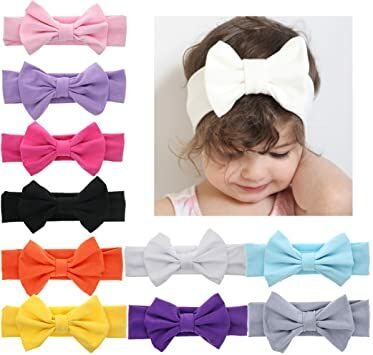 DANMY Baby Girl s Kink Soft Headband Cotton Elastic Hair Band Big Spiral  Knot Soft Turban Bow (Bow (10pcs)) ec4b95e1c99