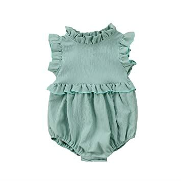 7890f964dea6 YOUNGER TREE Toddler Baby Girls Summer Clothes Ruffled Collar Sleeveless  Romper Jumpsuit (Green